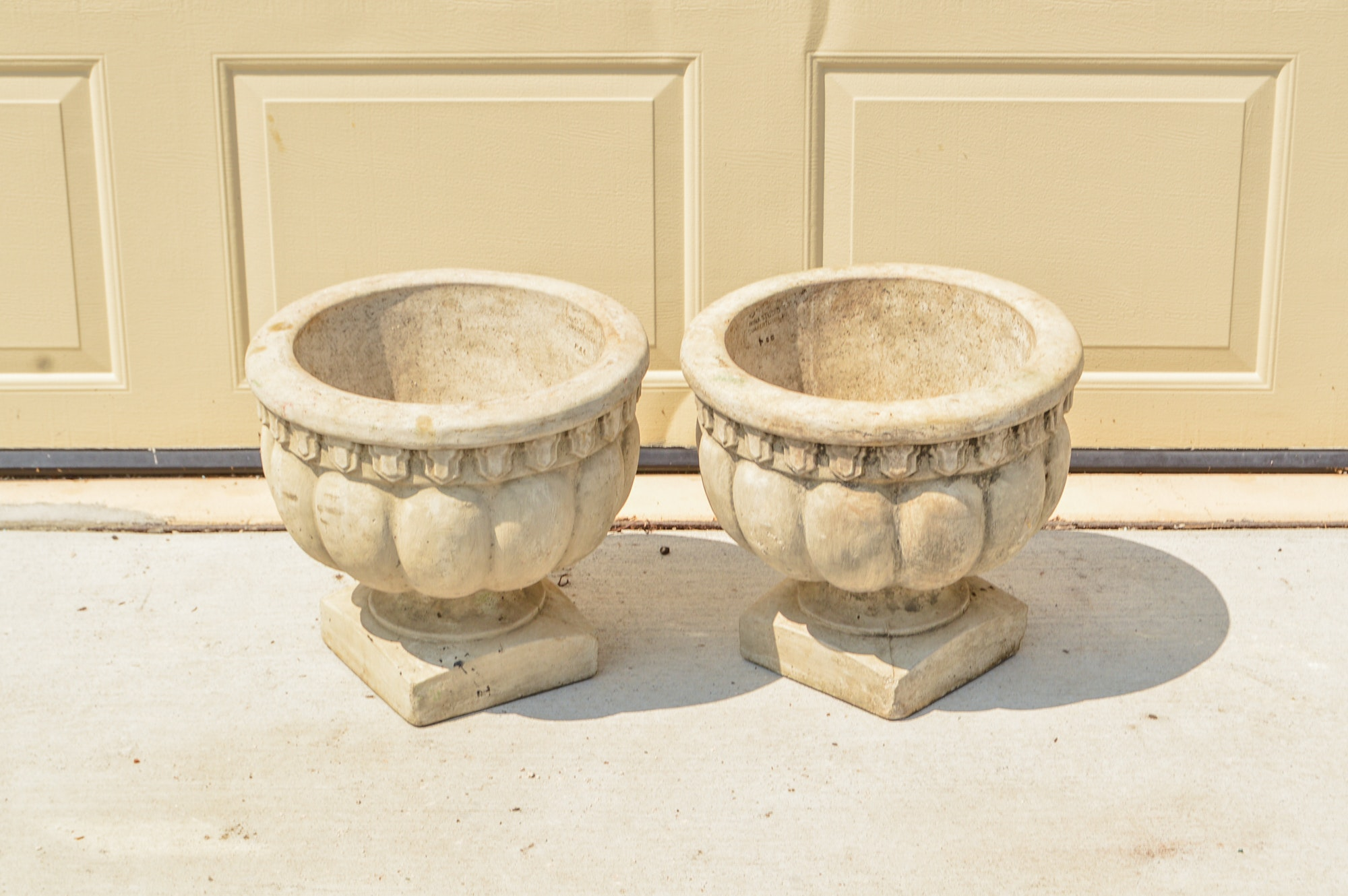 Pair of Gadrooned Pattern Concrete Planters