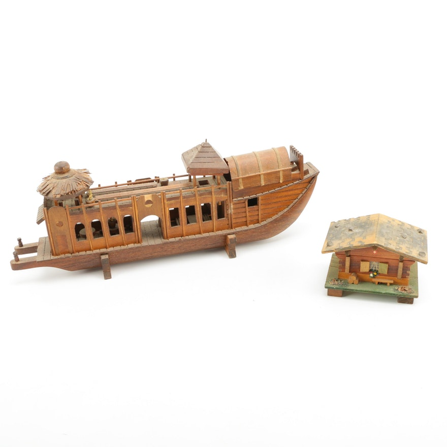 Wooden Boat Decor And House Music Box