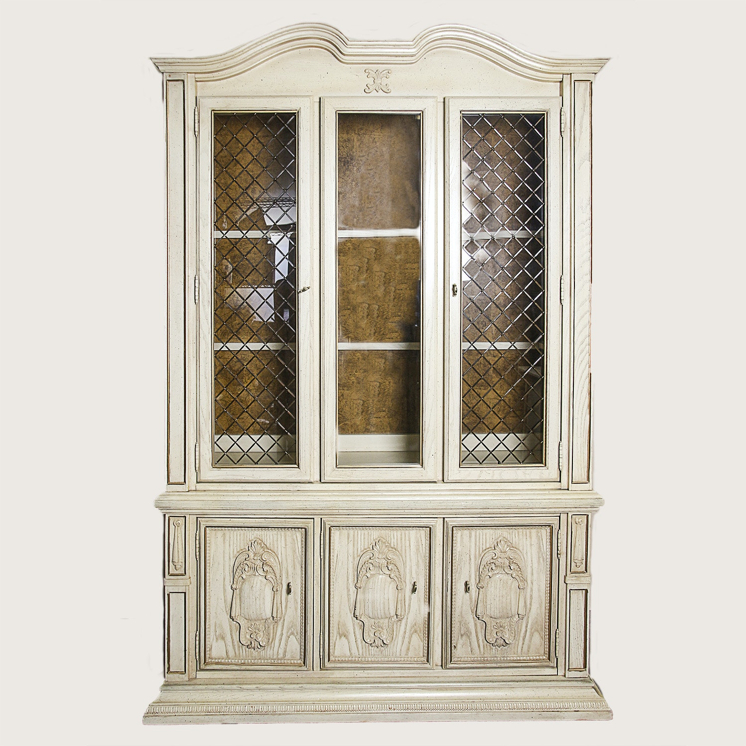 Vintage Cream Painted China Cabinet ...