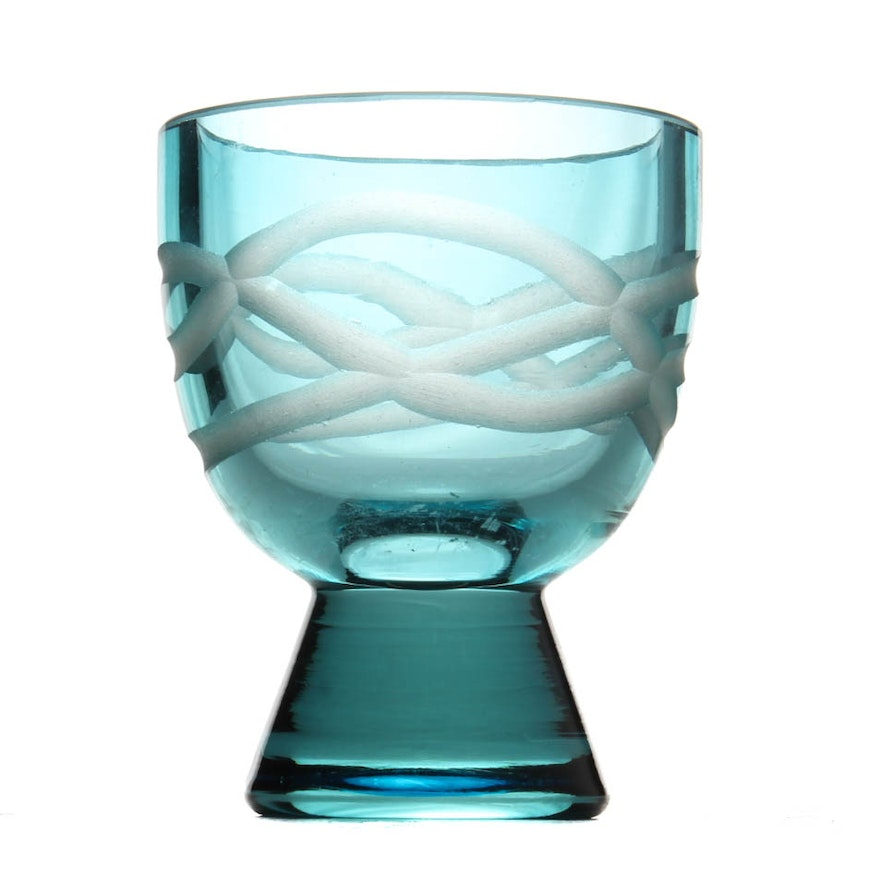 Evolution By Waterford Blue Cut Crystal Candle Holder Ebth