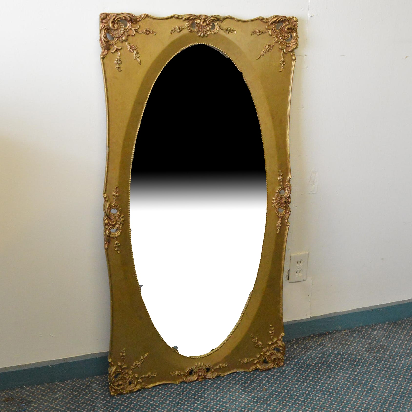 Gold-Tone Oval Wall Mirror