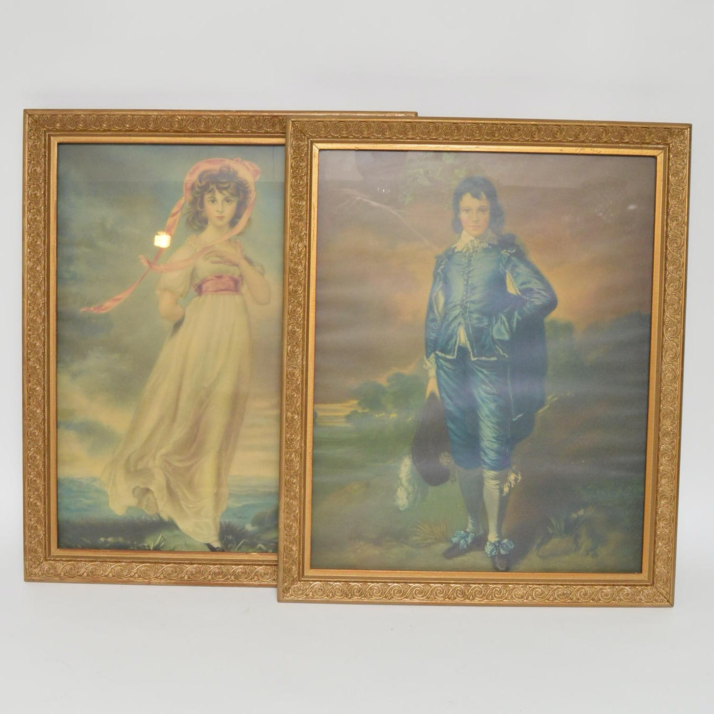 """Offset Lithographs After Gainsborough's """"A Young Lady"""" and """"The Blue Boy"""""""