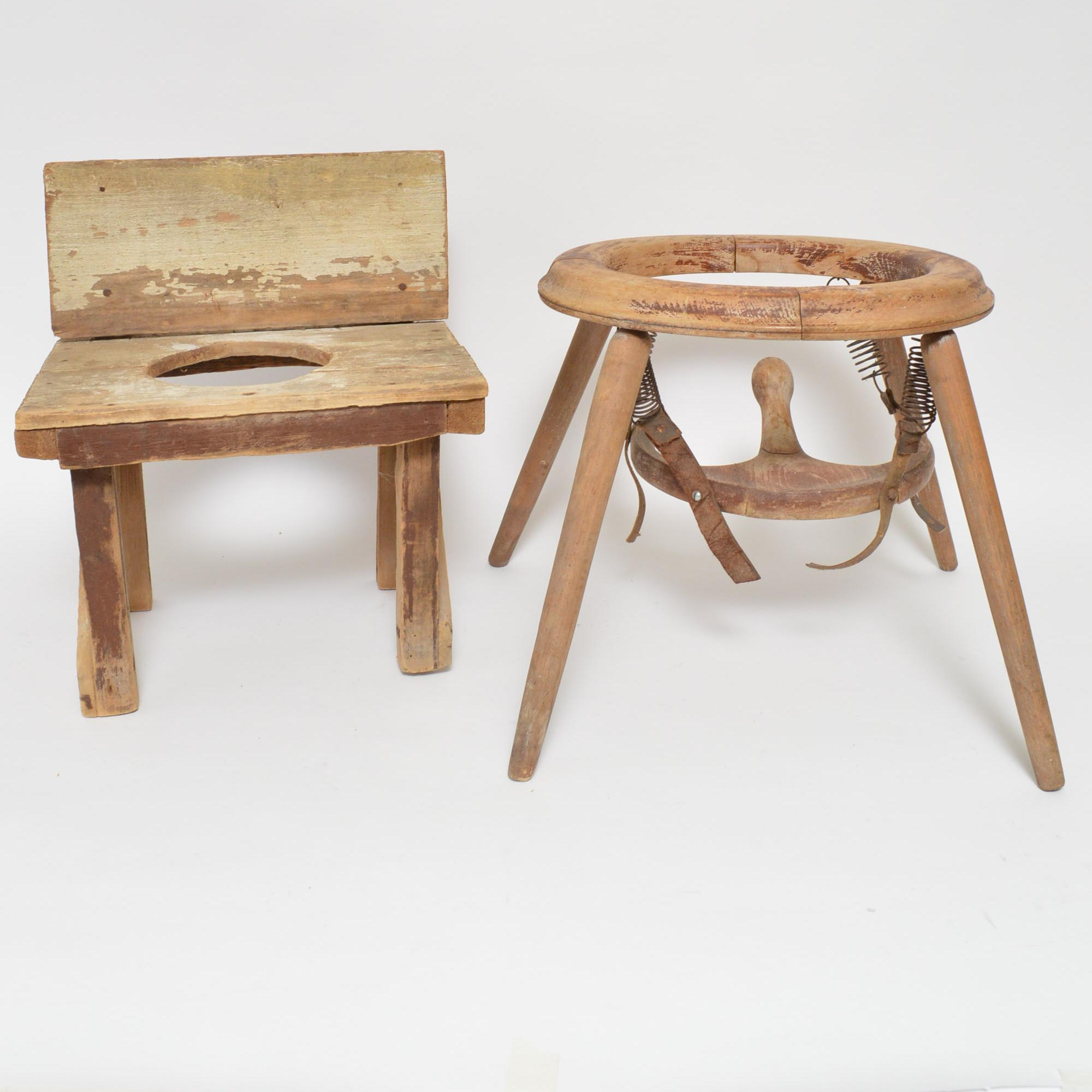 Vintage Child's Commode and Bouncing Chair