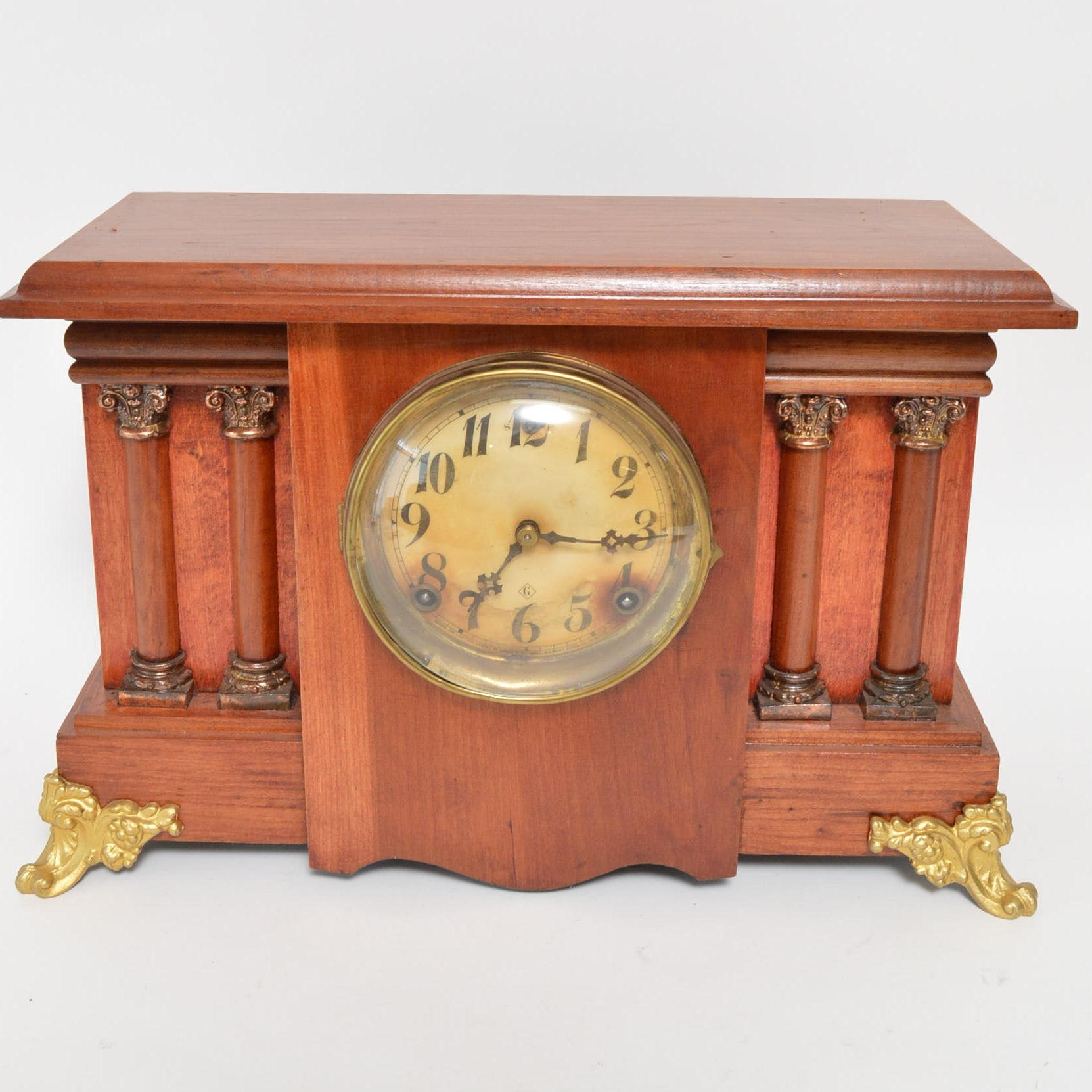 William Gilbert Clock Co. Four Column Mantle Clock