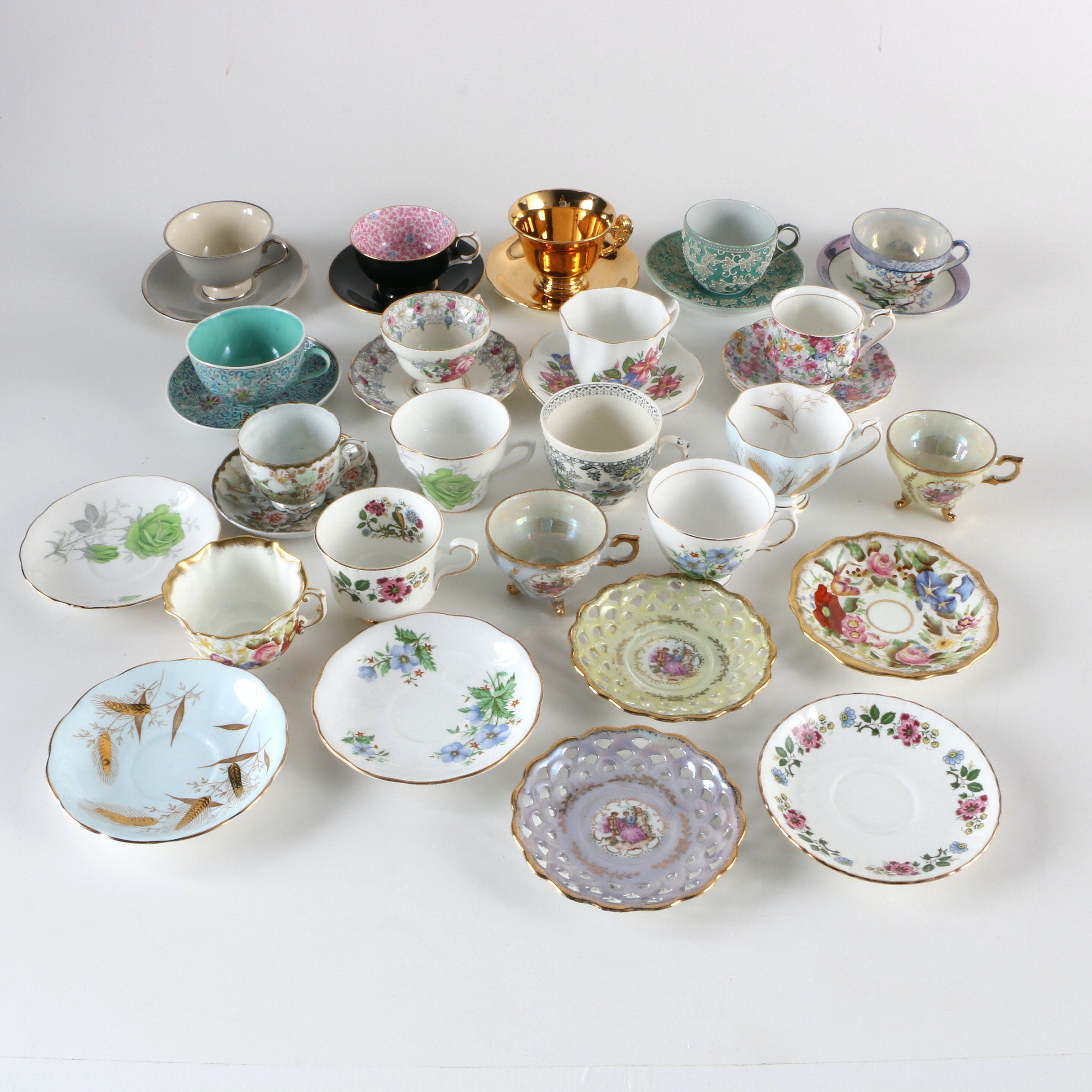 Assortment of Tea Cups and Saucers