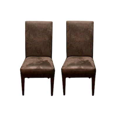 Contemporary Dining Side Chairs In Brown Suede