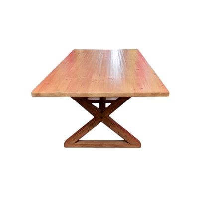 Farmhouse Style Pine Dining Table With Trestle Base