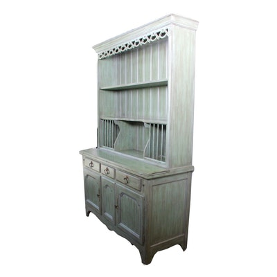Stepback China Cupboard in Distressed Finish by Drexel - Vintage Dining Furniture Auction Antique Dining Furniture For