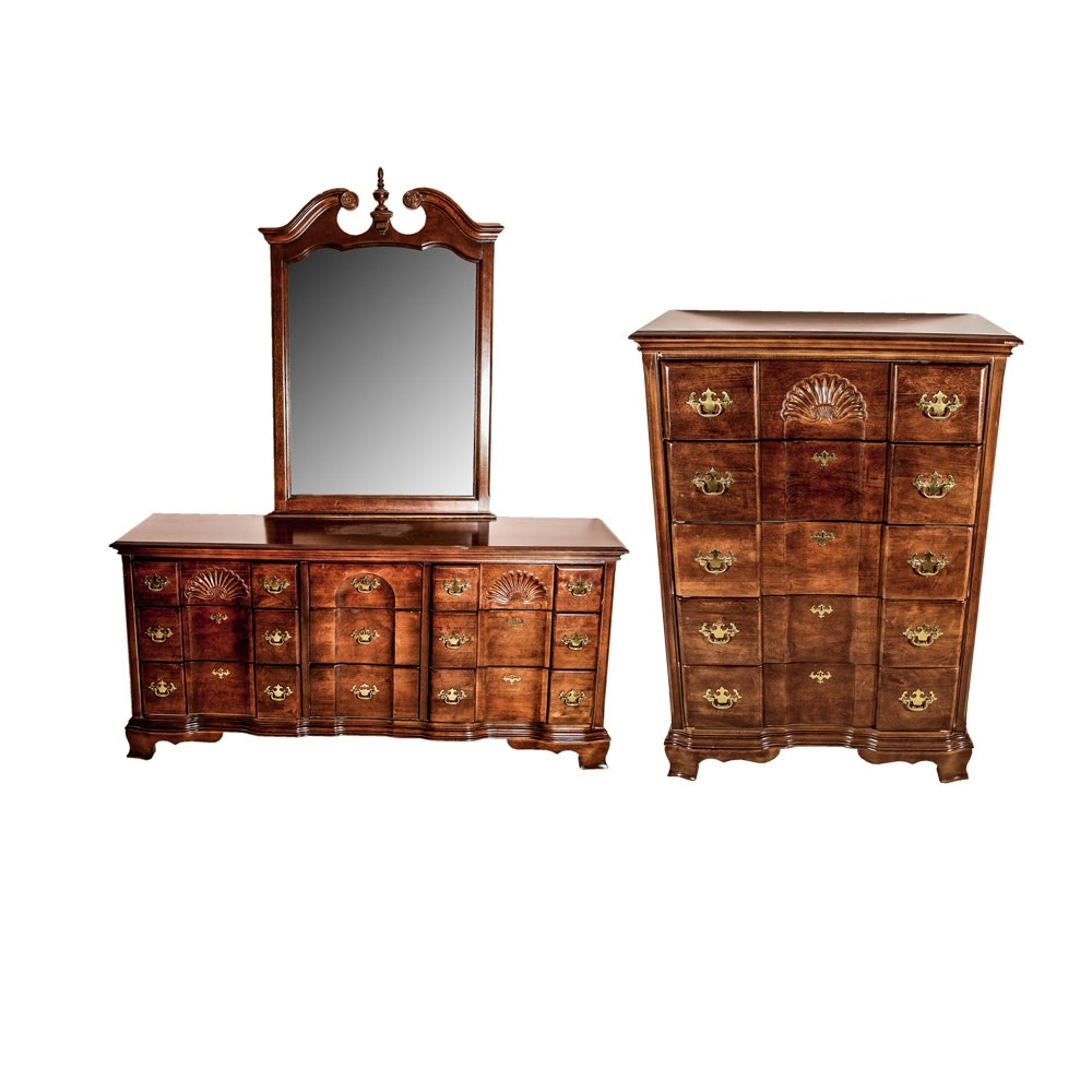 Matching Colonial Style Dresser with Mirror, and Chest of Drawers