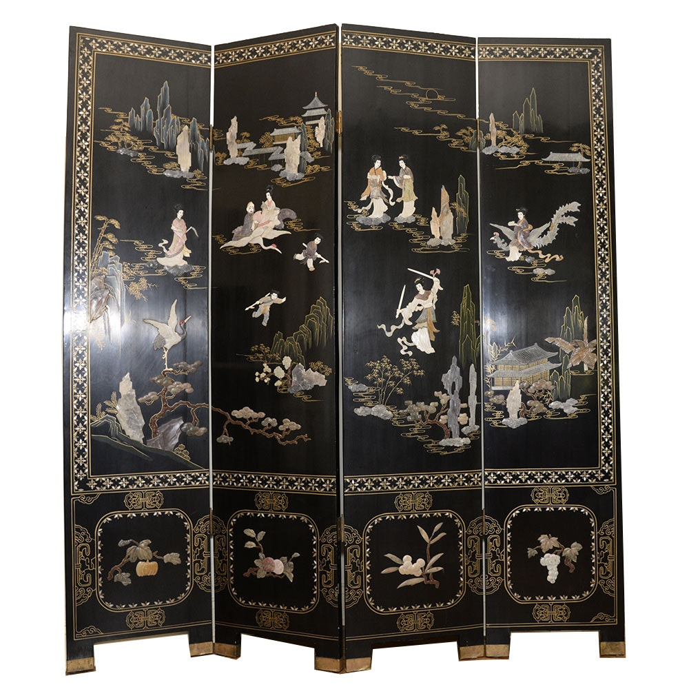 Chinoiserie Black Lacquer  Four Panel Folding Screen