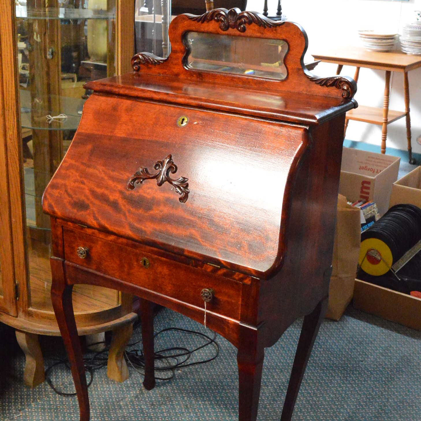 Vintage Mahogany Slant-Front Secretary Desk