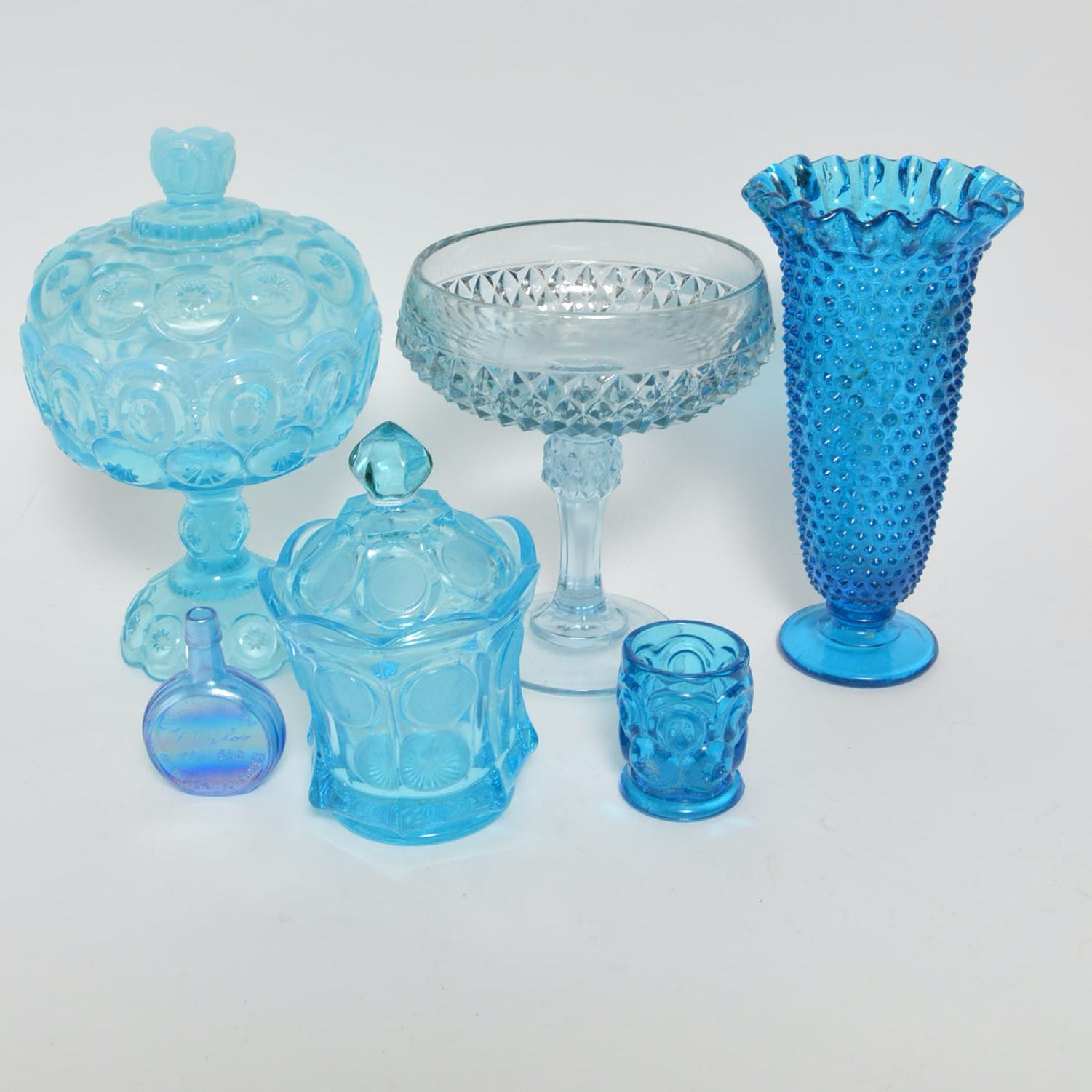 Blue Glass Tableware and Decor Including LE Smith