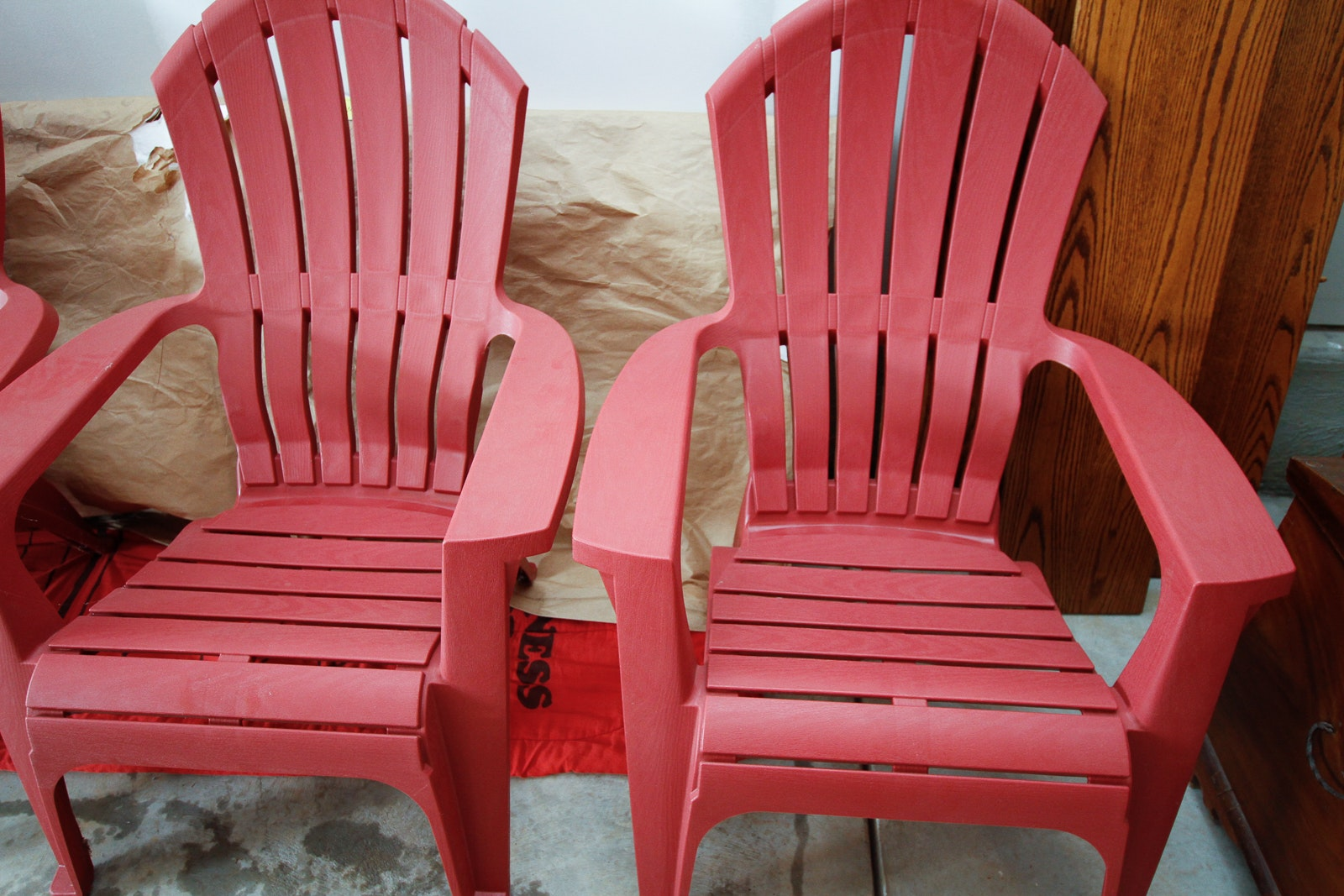 Pair Of Red Plastic Adirondack Chairs ...