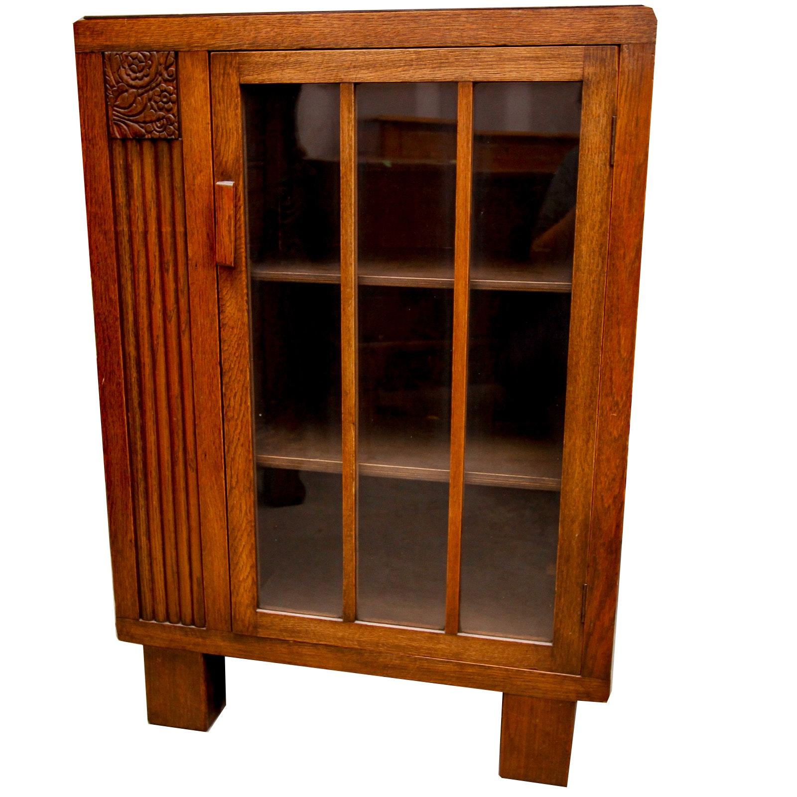 Vintage Arts & Crafts Oak Bookcase Cabinet