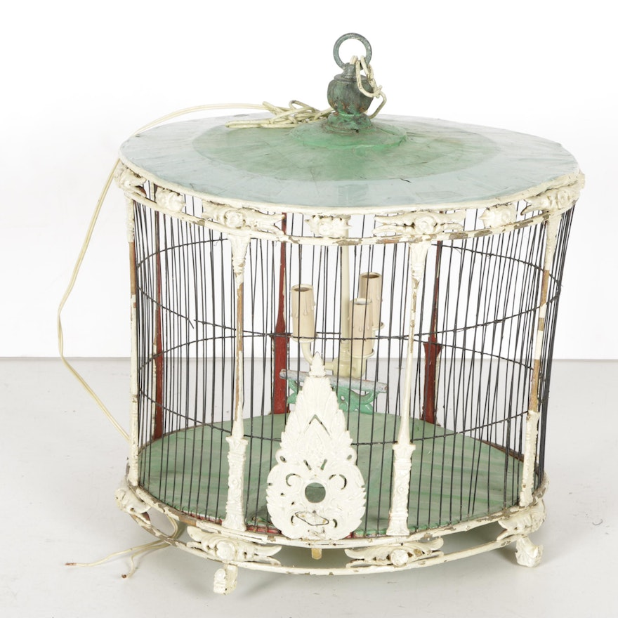 Antique converted victorian birdcage pendant light ebth antique converted victorian birdcage pendant light aloadofball Image collections
