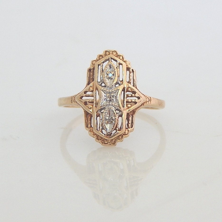 10K Yellow Gold Edwardian Dinner Diamond Ring