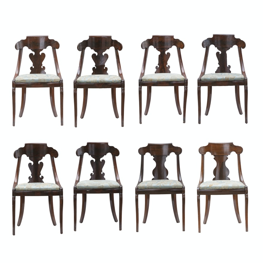 Set Of Eight Antique Empire Style Dining Room Chairs EBTH