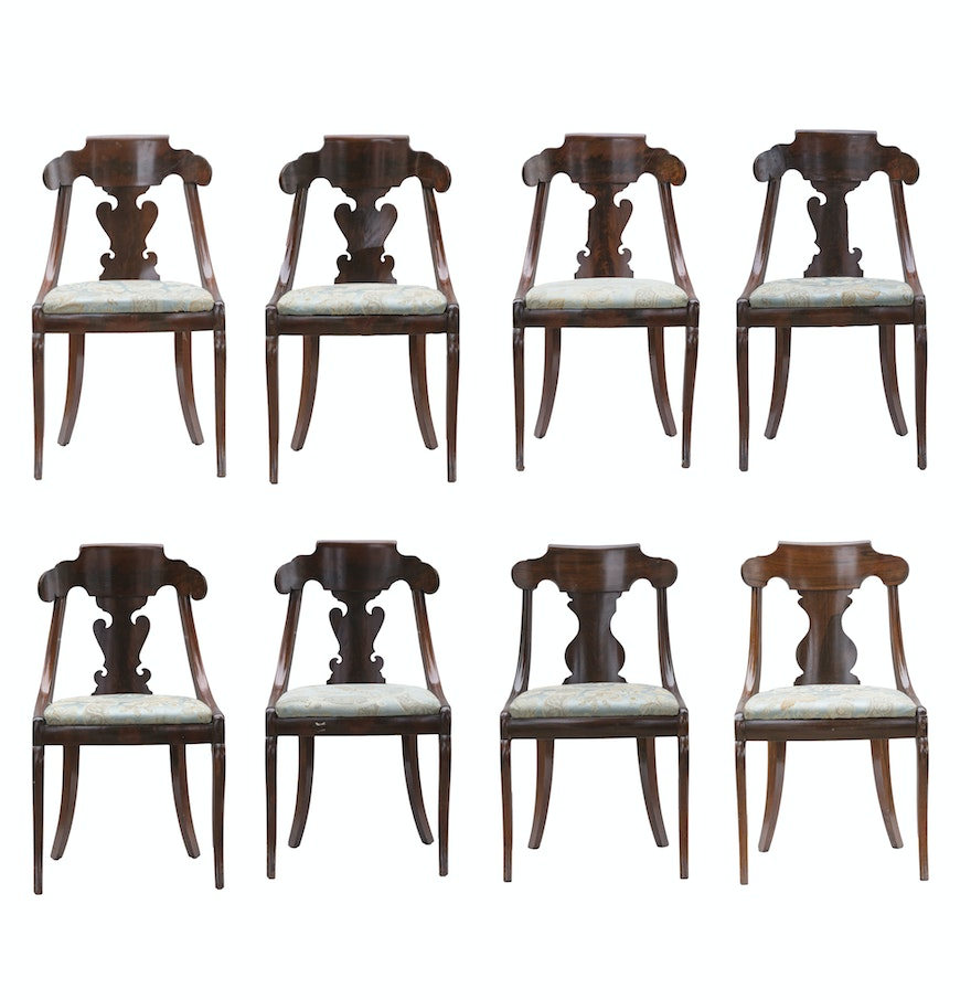 Set Of Eight Antique Empire Style Dining Room Chairs