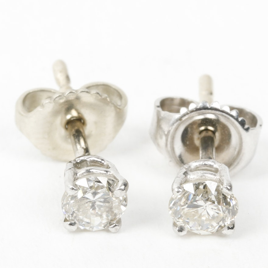 5b75798e2 14K White Gold and Diamond Stud Earrings : EBTH
