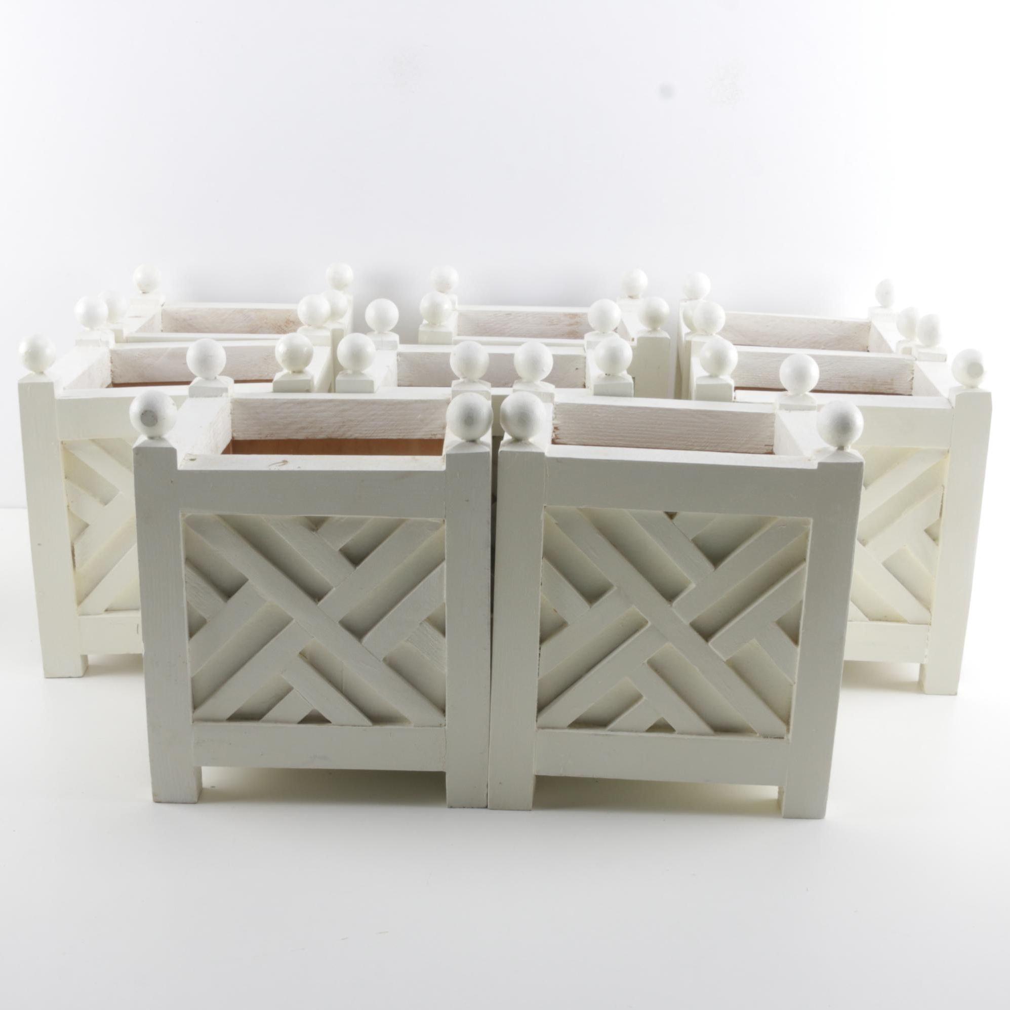 White Wooden Planter Boxes Ebth
