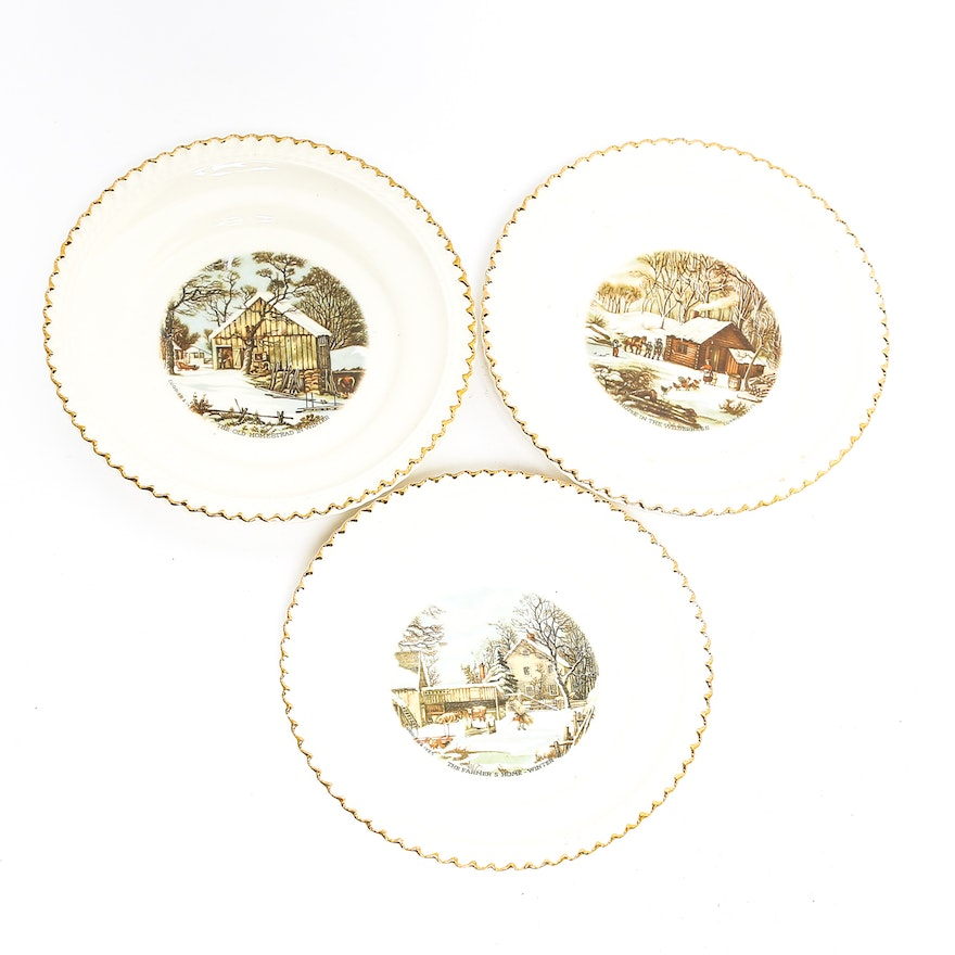 Three Harkerware Plates with Prnts After Currier and Ives : EBTH