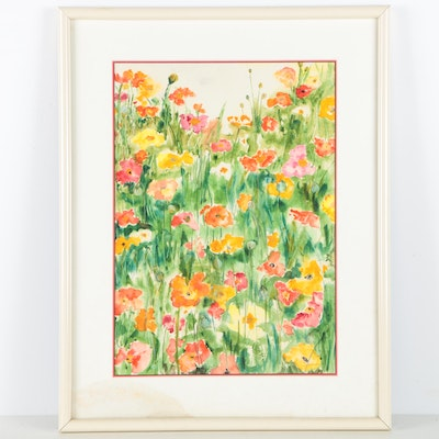 Jo Lathwood Watercolor of a Field of Flowers