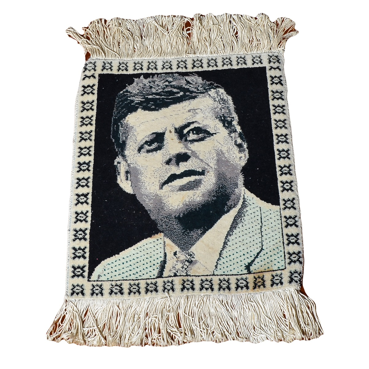 Hand-Knotted Tabriz Persian Wool Accent Rug featuring JFK