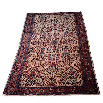 Antique Hand-Knotted Sarouk Persian Area Rug
