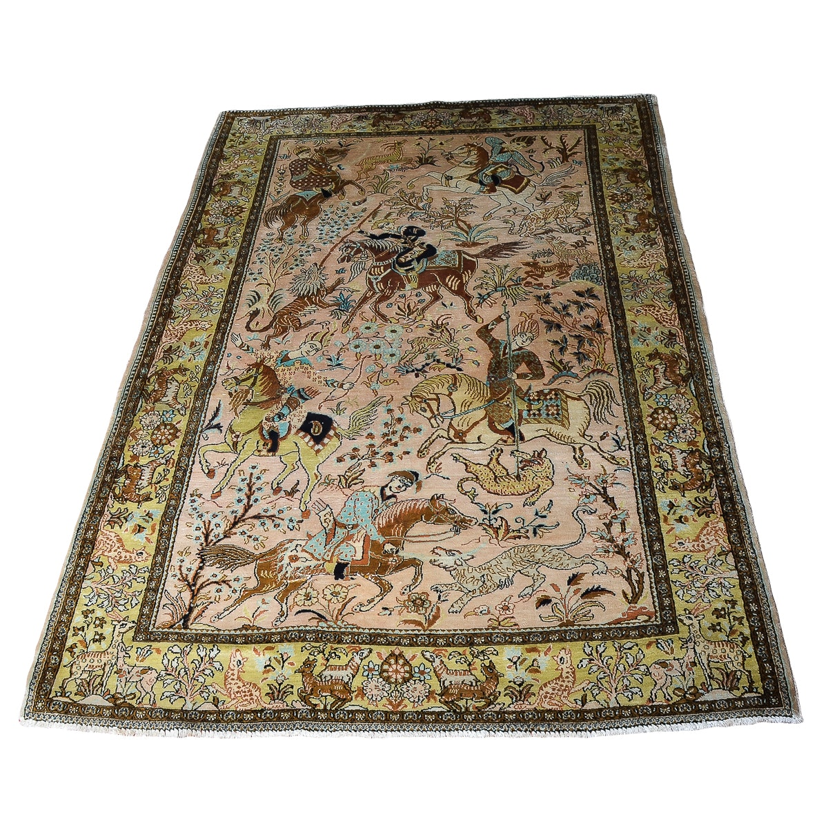 Persian Ghom Hand-Knotted Pure Silk Area Rug