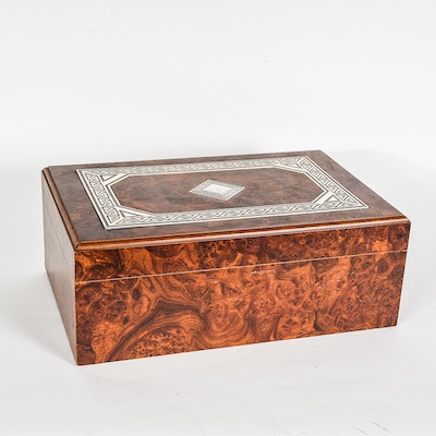 Burlwood Humidor With Sterling Silver Inlay