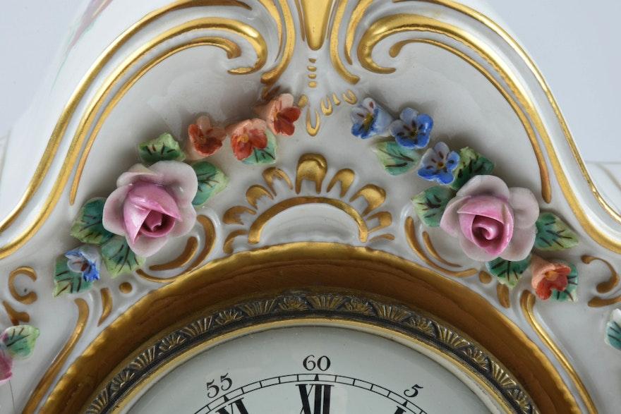 alt meissen art dresden porcelain clock ebth. Black Bedroom Furniture Sets. Home Design Ideas
