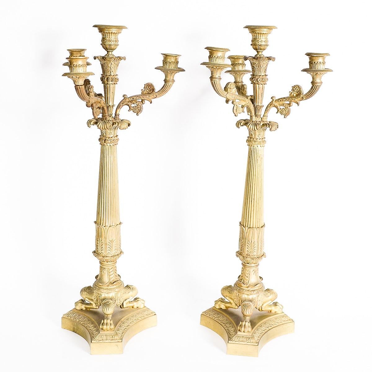 Pair of Antique Gilt Bronze Empire Style Bronze Candelabras