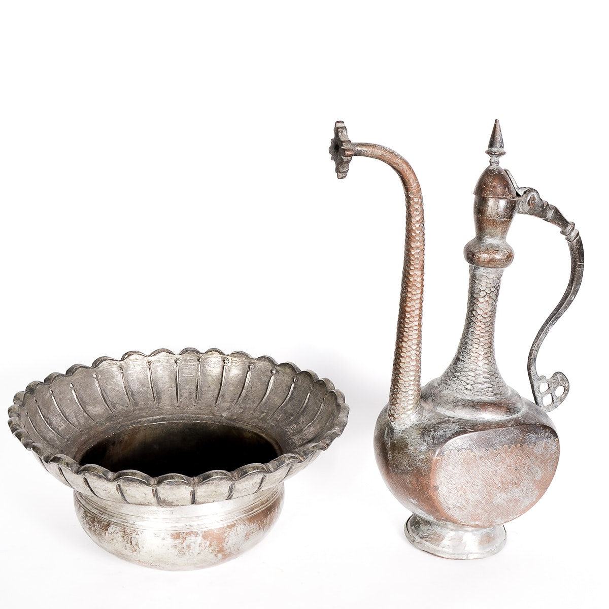 Antique Bronze Iranian Hammered Ewer and Bowl