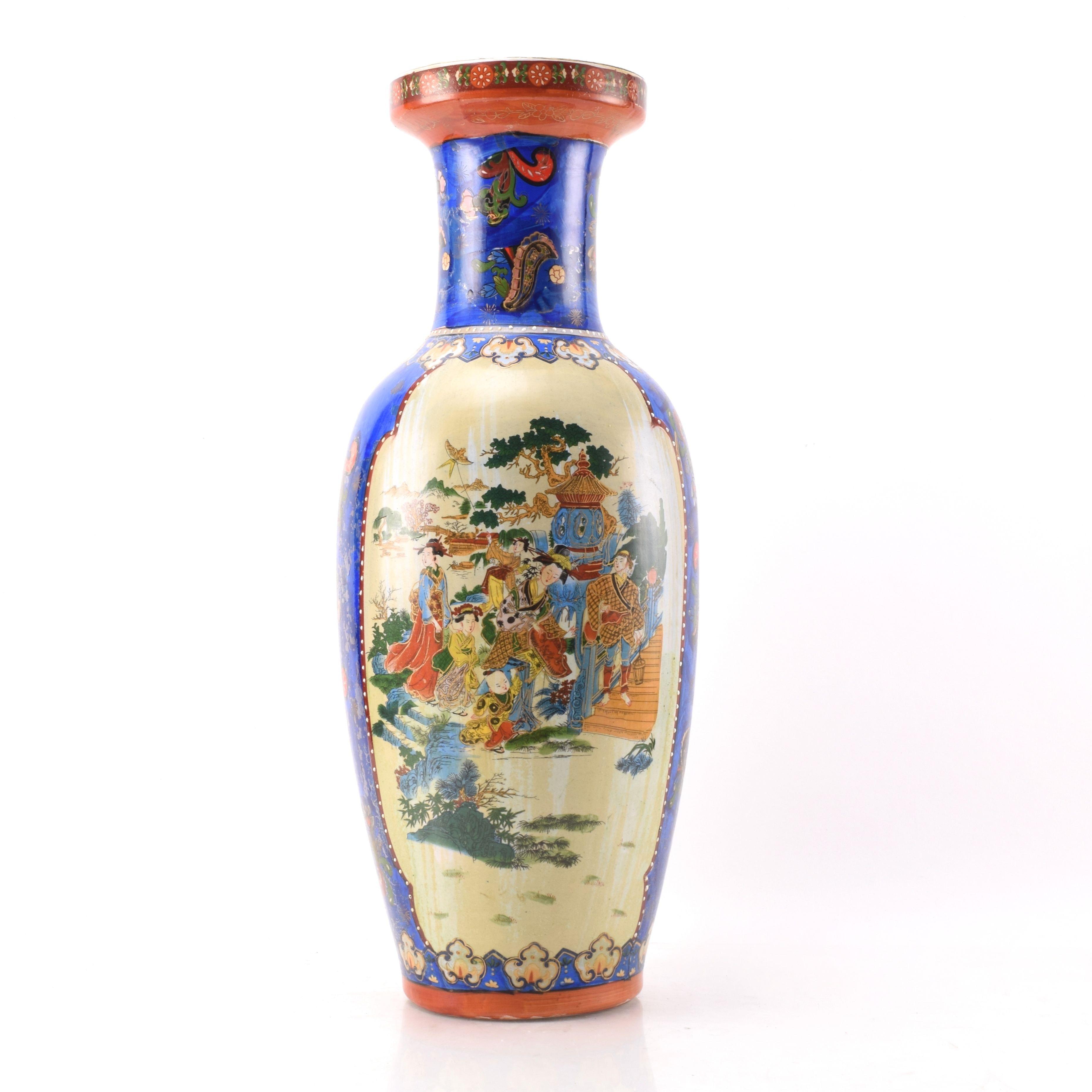 Chinese Satsuma Style Porcelain Floor Vase