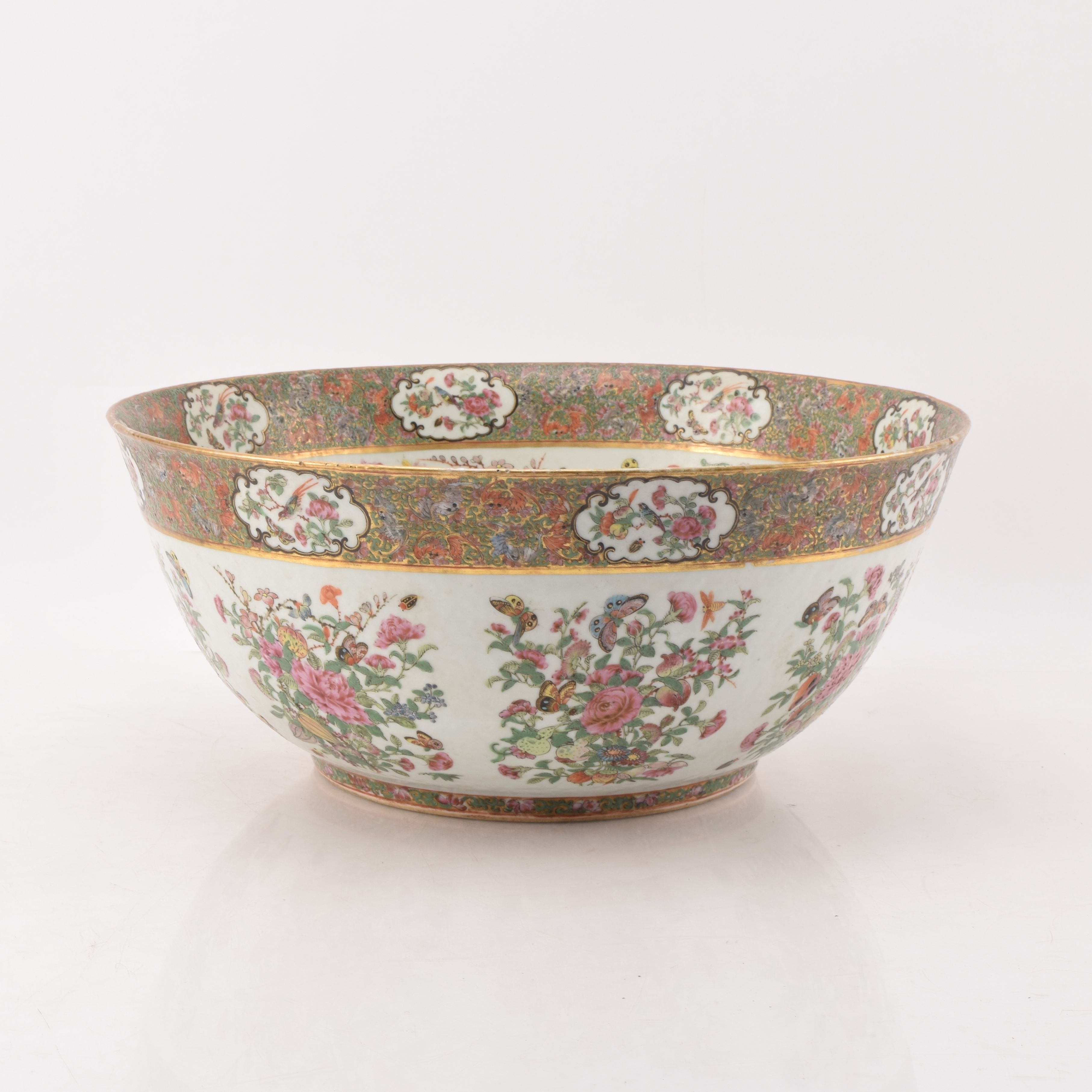 Antique Chinese Export Punch Bowl