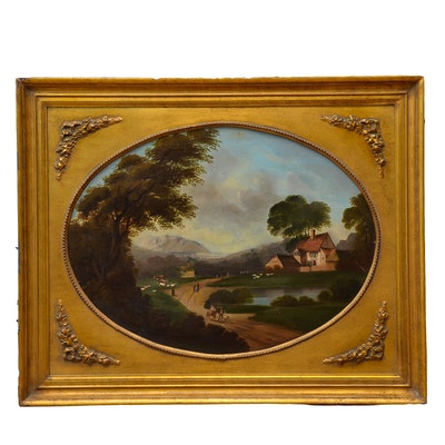 Antique Oil Painting on Metal