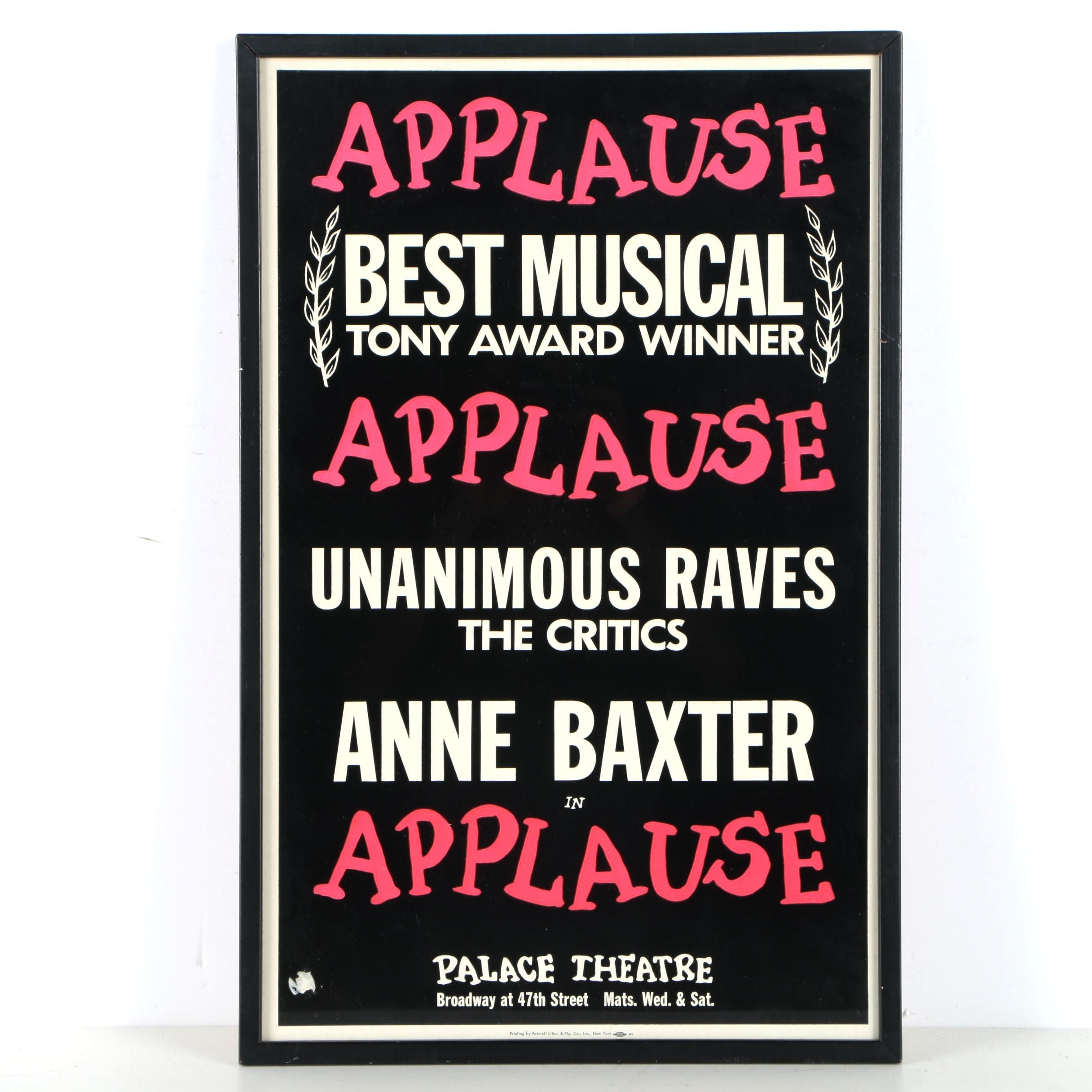 """1970s Broadway Poster for Anne Baxter in """"Applause"""""""