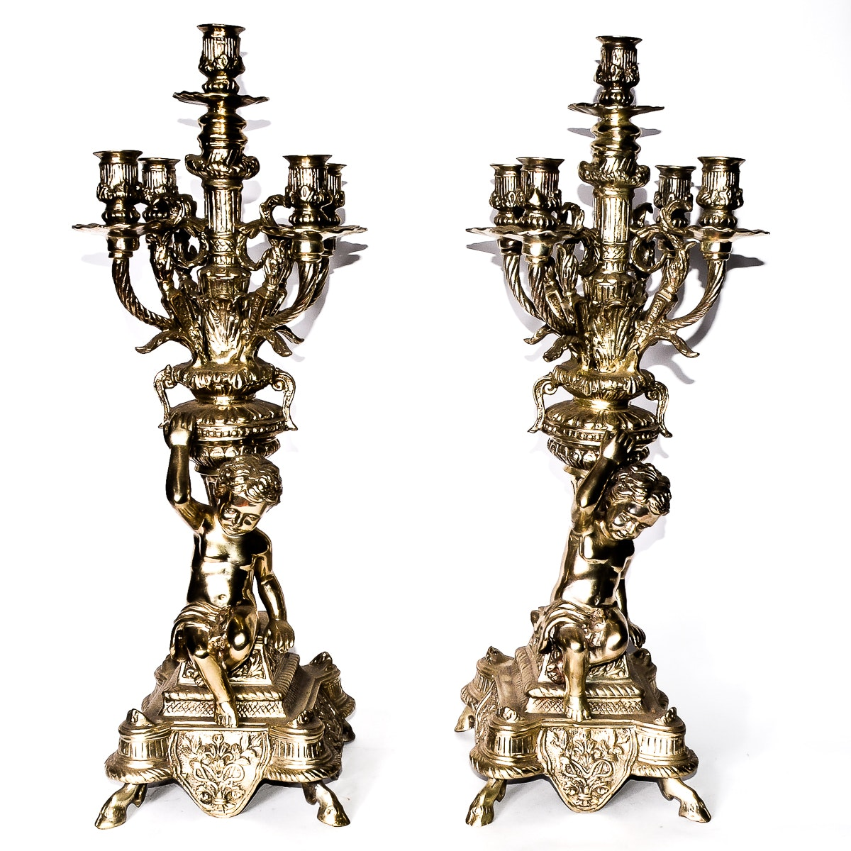 Pair of Silver Plated Candelabras with Cherubs
