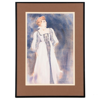 Betty Evans Cook Watercolor Painting of Costumed Woman