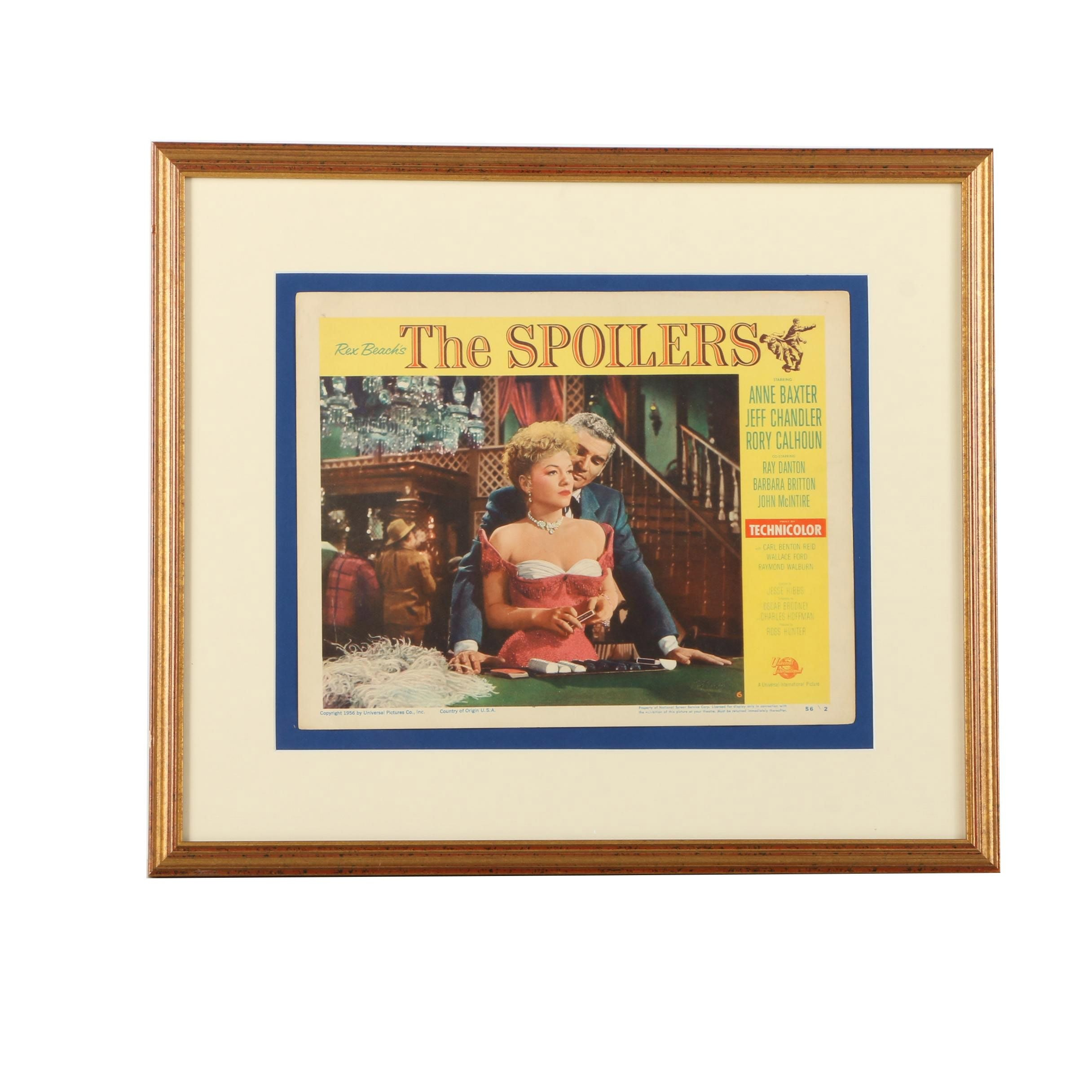 "Framed 1956 ""The Spoilers"" Lobby Card"