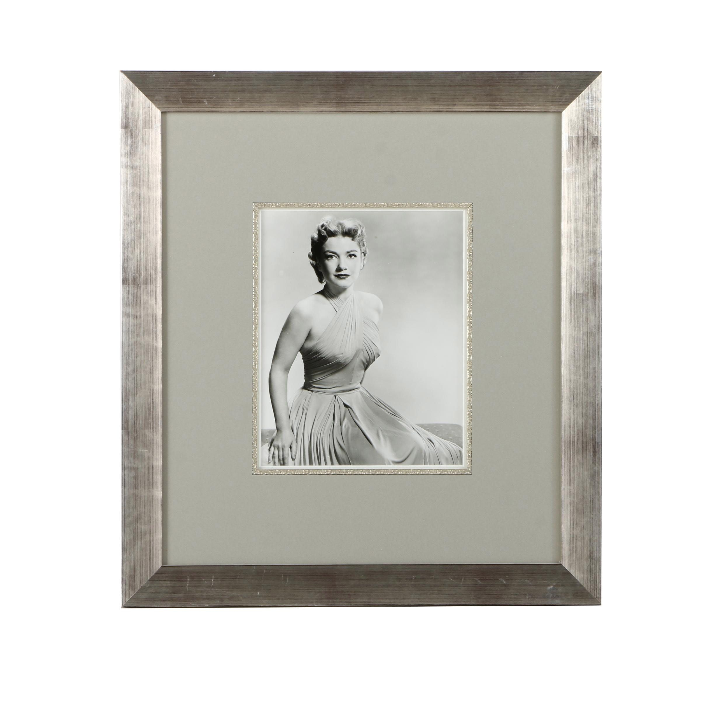 Framed Black and White Photographic Print of Actress Anne Baxter