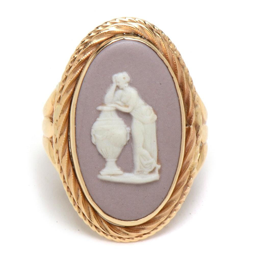 Vintage 14K Yellow Gold Wedgwood Pink Blush Jasperware Cameo Ring