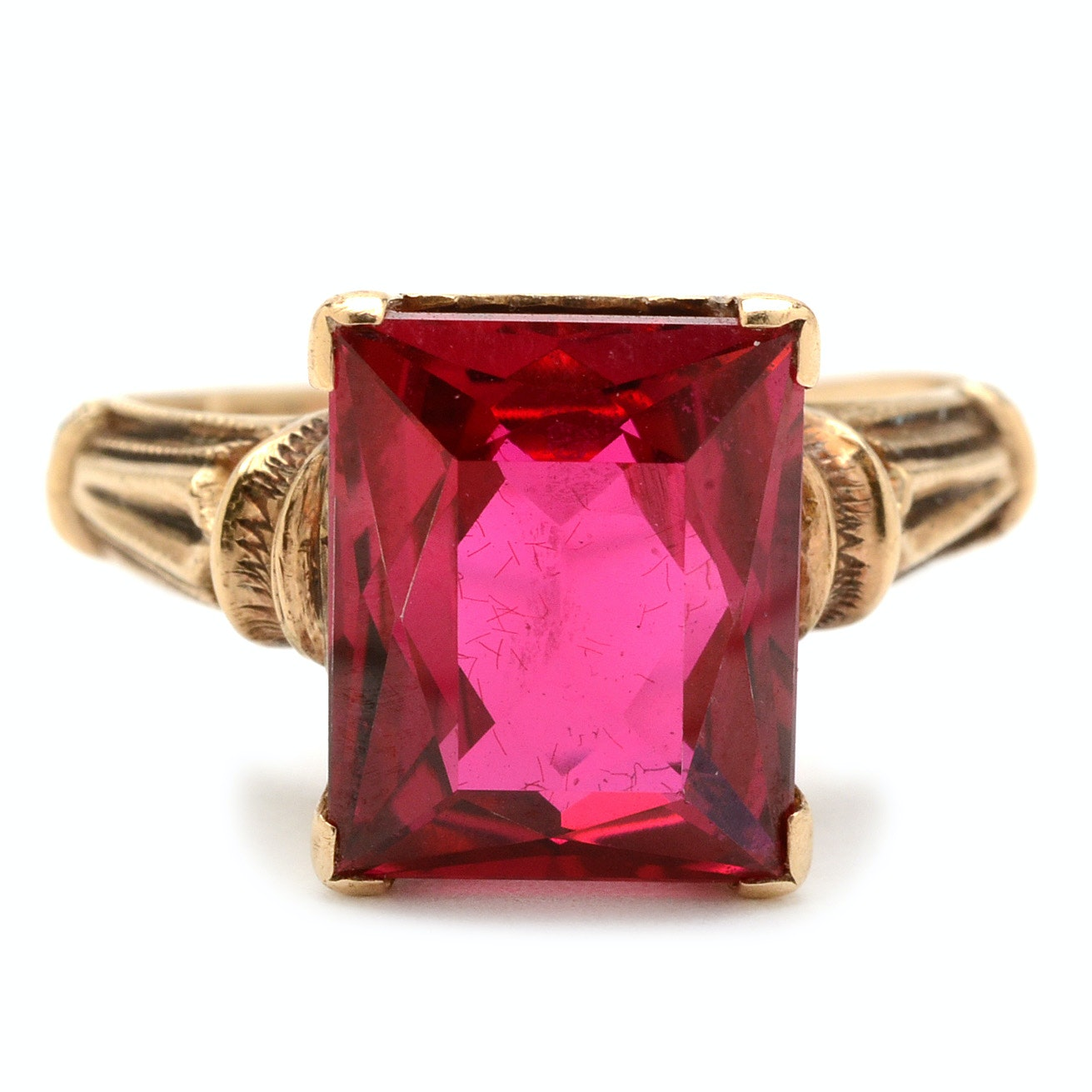 Victorian 10K Yellow Gold Synthetic Ruby Ring