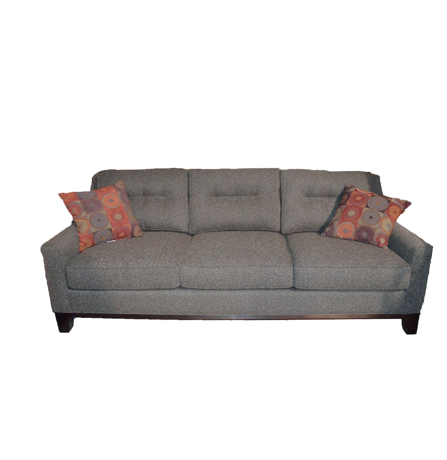Gray tweed sofa by cindy crawford home ebth for Gray tweed couch