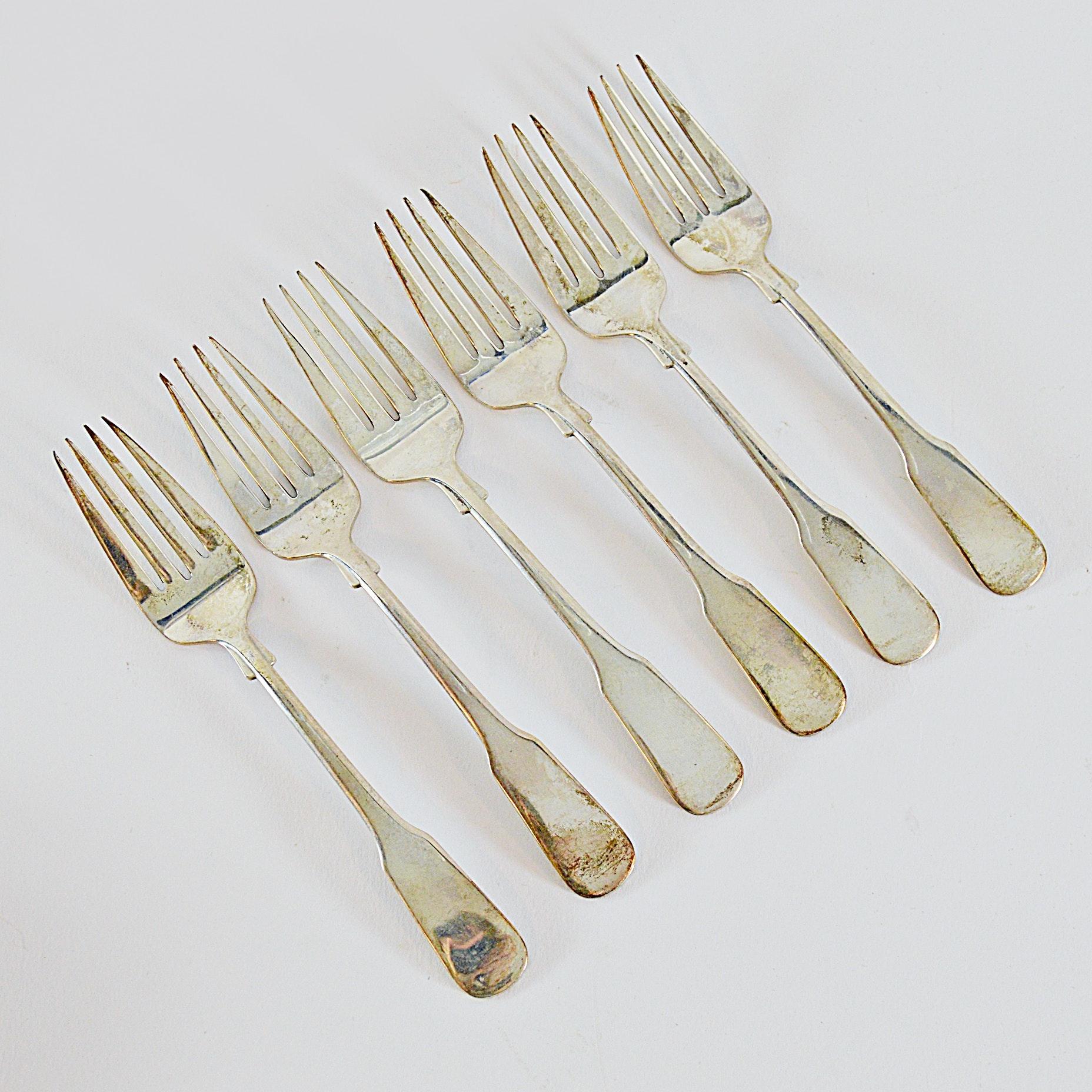 """International Silver Co. Sterling Sterling """"1810"""" Salad Forks"""