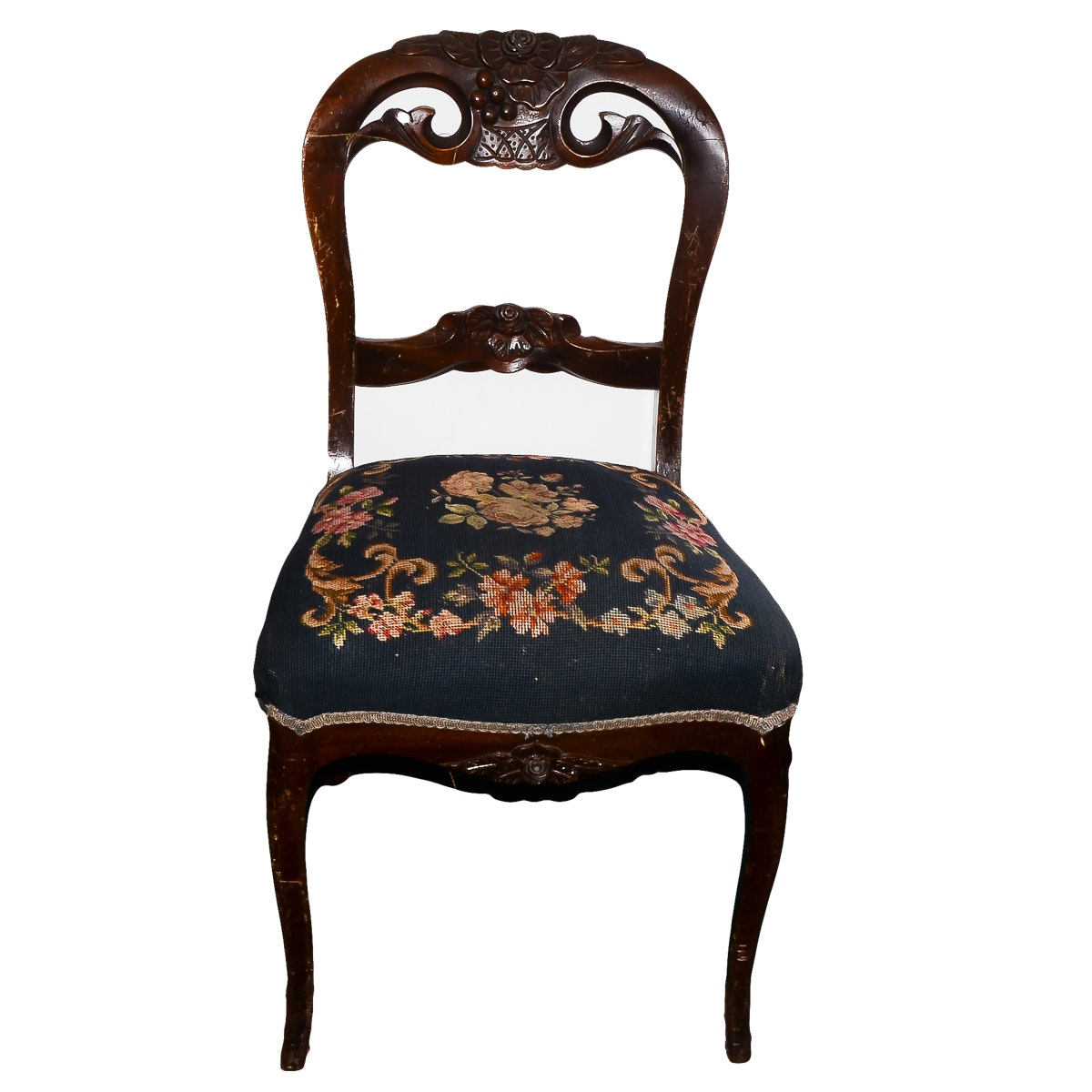 Antique Victorian Rococo Revival Side Chair