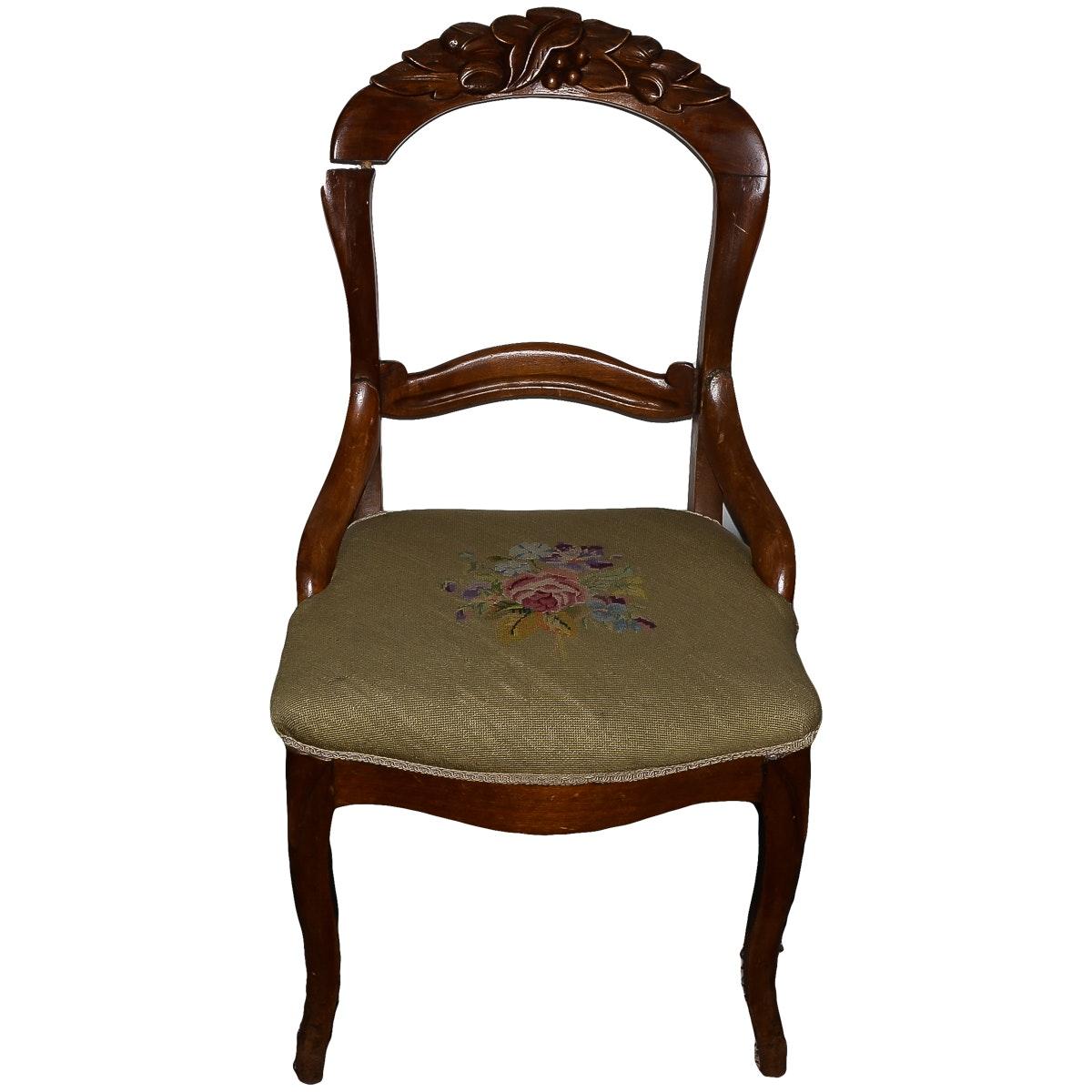 Antique Aubusson Style Accent Chair