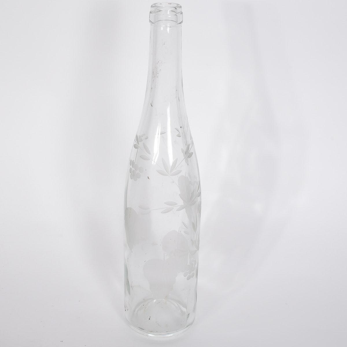 Antique Etched Glass Bottle