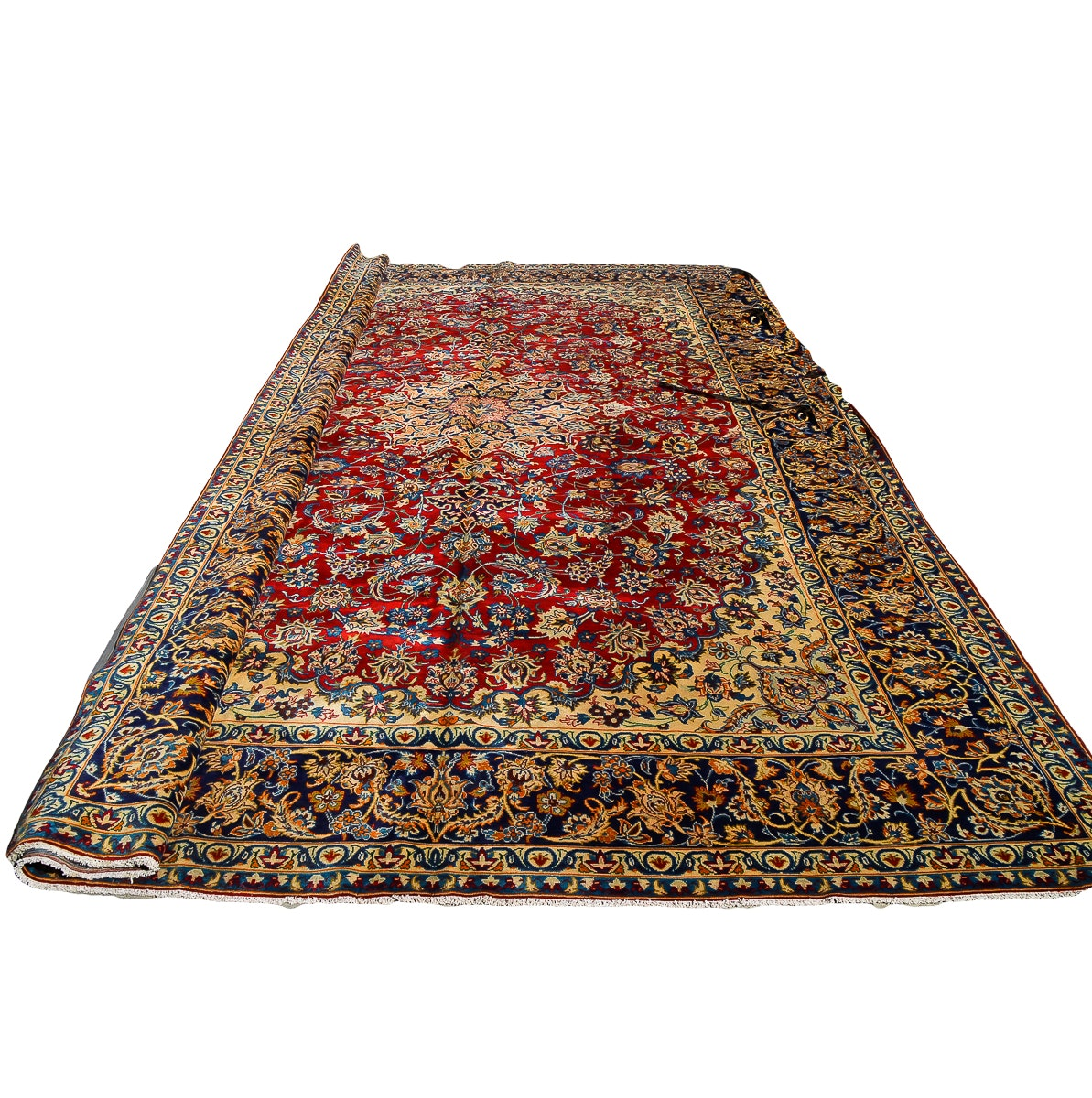 Persian Isfahan Hand-Knotted Area Rug