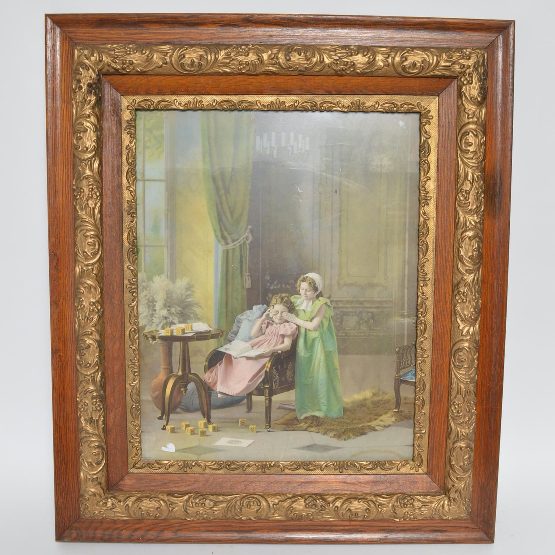 """1901 Framed Chromolithograph Print """"Guess Who"""""""